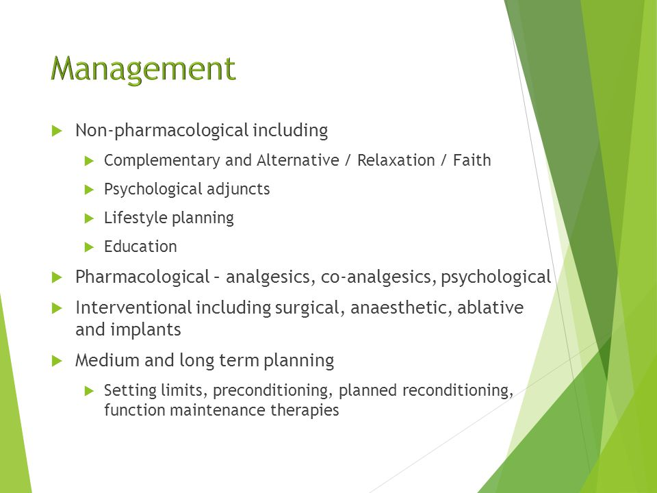  Co-morbidity status and medical optimisation  Environmental management  Pain management  Equipment – assess, provide, monitor, manage, follow-up  Day rehab, inpatient rehab, planned off-season workup