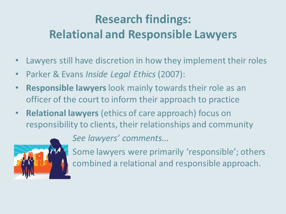 Research findings: Relational and Responsible Lawyers Lawyers still have discretion in how they implement their roles Parker & Evans Inside Legal Ethics (2007): Responsible lawyers look mainly towards their role as an officer of the court to inform their approach to practice Relational lawyers (ethics of care approach) focus on responsibility to clients, their relationships and community See lawyers' comments...