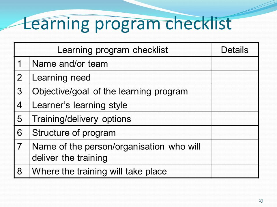 Learning program checklist Details 1Name and/or team 2Learning need 3Objective/goal of the learning program 4Learner's learning style 5Training/delive