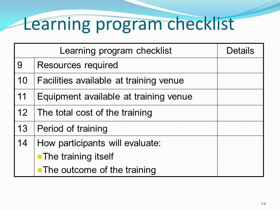 Learning program checklist Details 9Resources required 10Facilities available at training venue 11Equipment available at training venue 12The total co