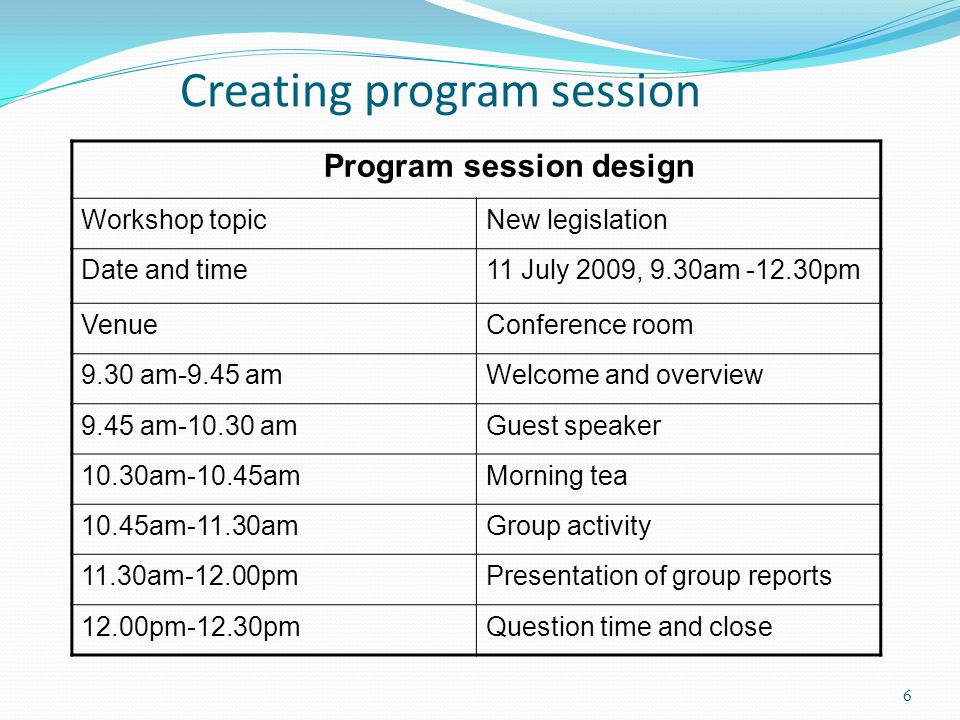 Creating program session Program session design Workshop topicNew legislation Date and time11 July 2009, 9.30am -12.30pm VenueConference room 9.30 am-