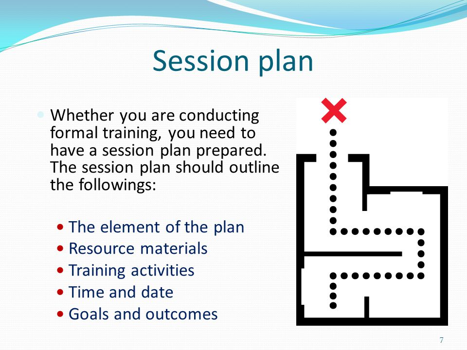 Session plan Whether you are conducting formal training, you need to have a session plan prepared. The session plan should outline the followings: The