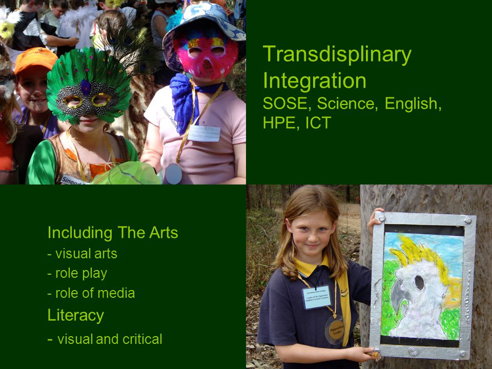 Transdisplinary Integration SOSE, Science, English, HPE, ICT Including The Arts - visual arts - role play - role of media Literacy - visual and critical