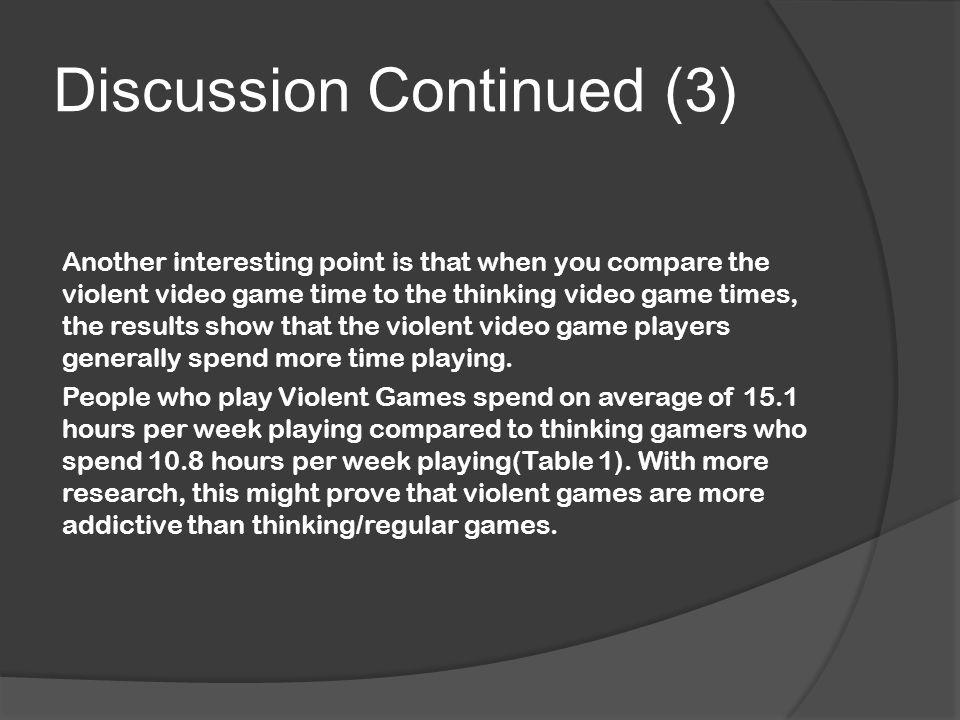 Discussion Continued (3) Another interesting point is that when you compare the violent video game time to the thinking video game times, the results show that the violent video game players generally spend more time playing.