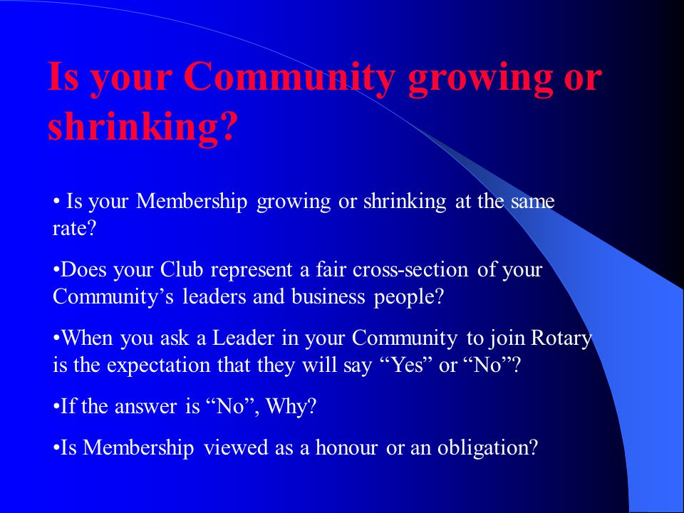 Is your Community growing or shrinking. Is your Membership growing or shrinking at the same rate.