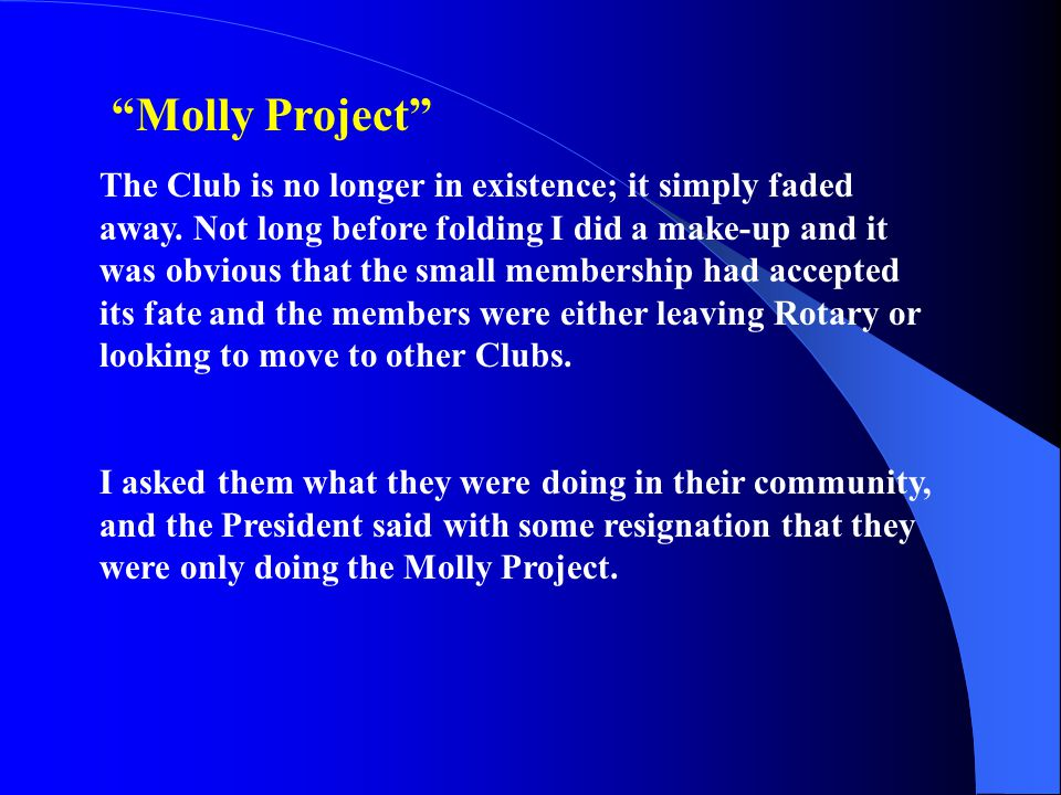 Molly Project The Club is no longer in existence; it simply faded away.