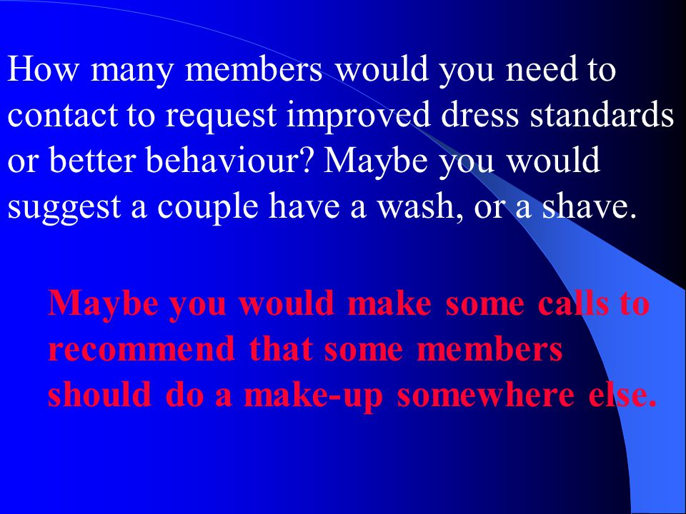 How many members would you need to contact to request improved dress standards or better behaviour.
