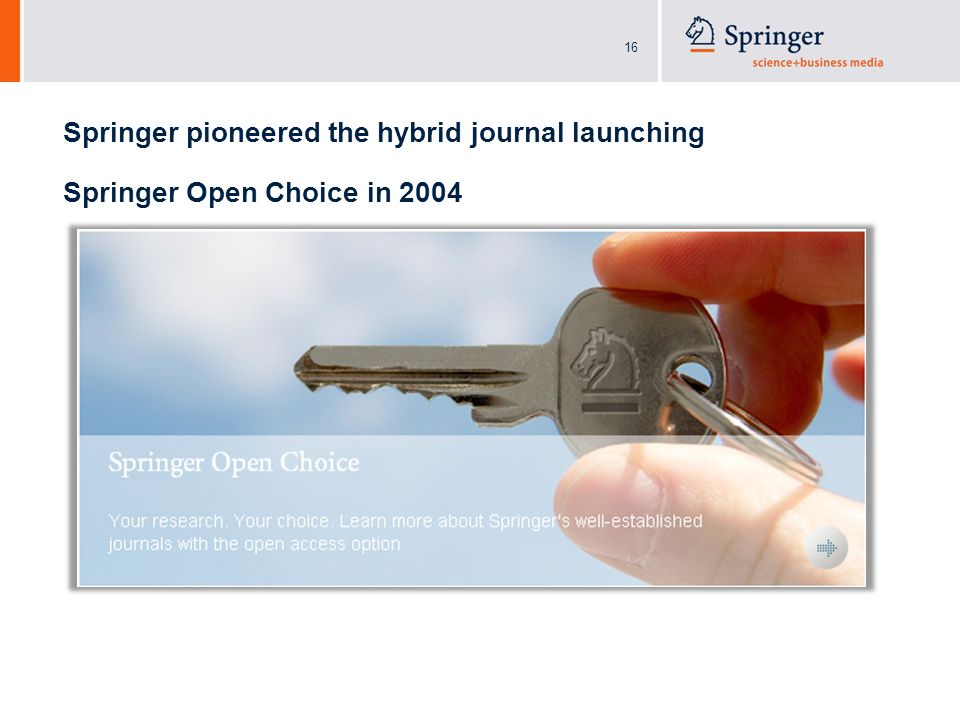 16 Springer pioneered the hybrid journal launching Springer Open Choice in 2004