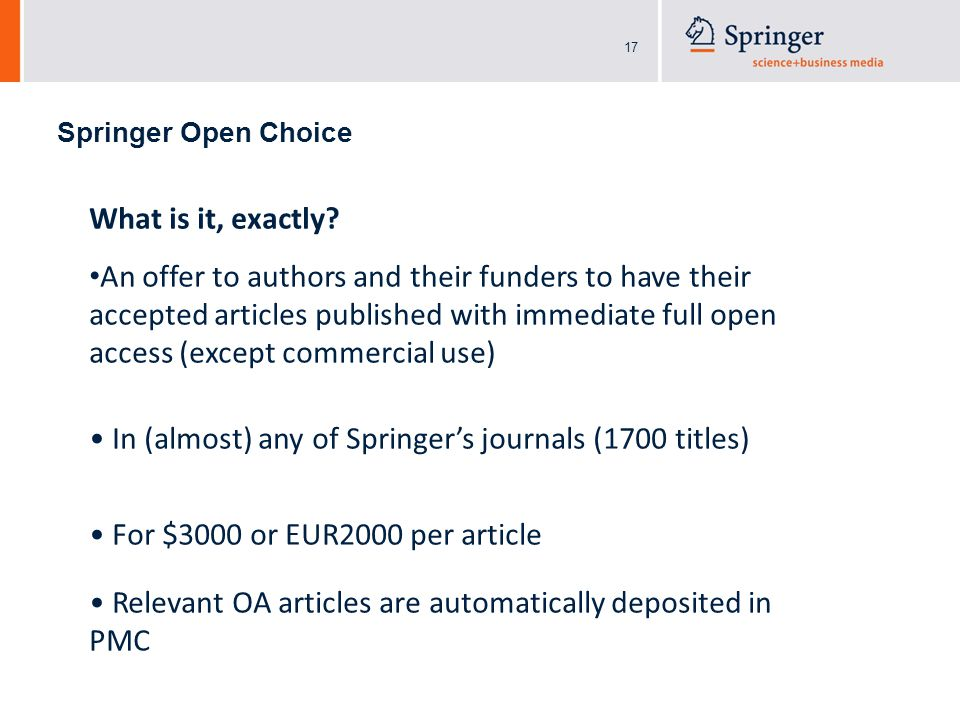 17 Springer Open Choice What is it, exactly.