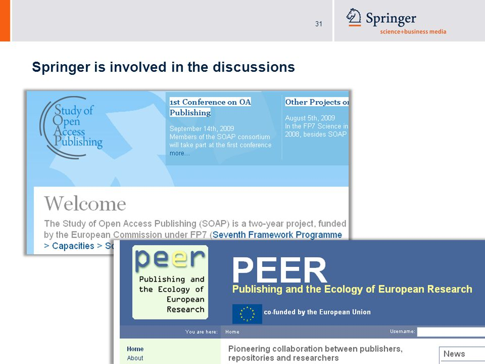 31 Springer is involved in the discussions