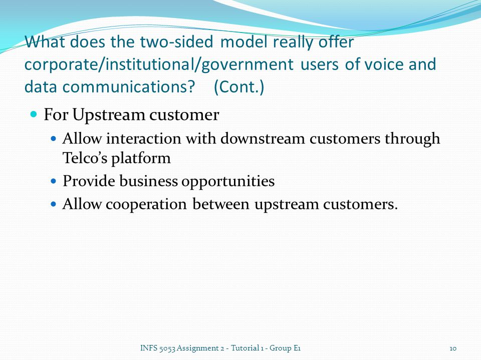 What does the two-sided model really offer corporate/institutional/government users of voice and data communications? (Cont.) For Upstream customer Al