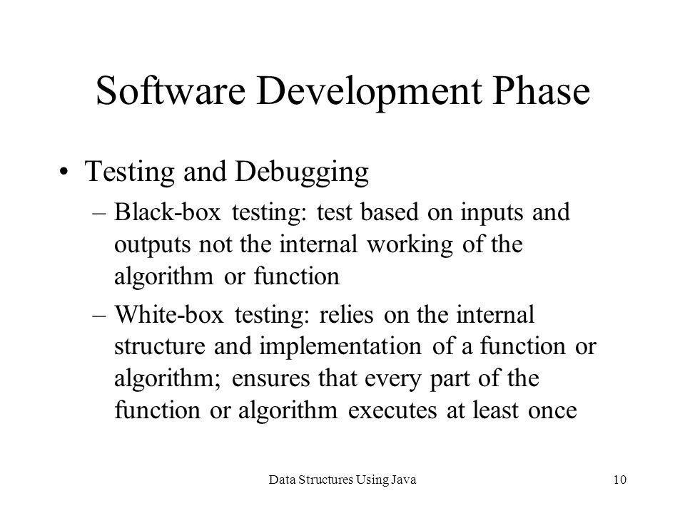 Data Structures Using Java10 Software Development Phase Testing and Debugging –Black-box testing: test based on inputs and outputs not the internal wo