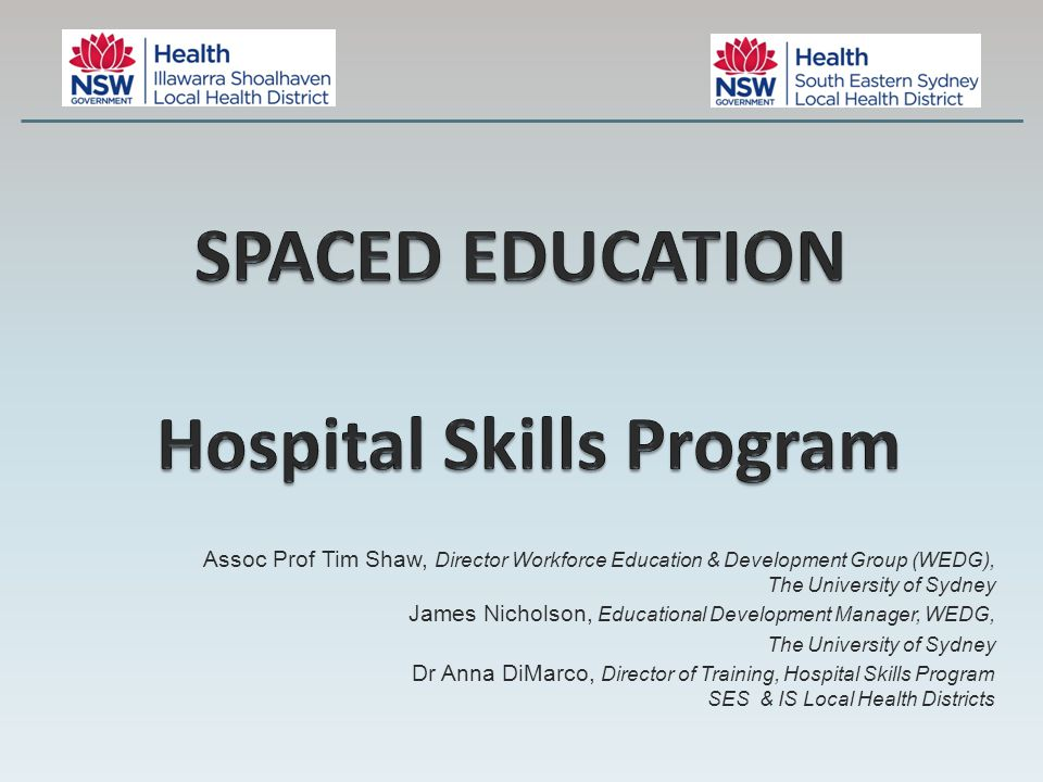 Each Spaced Ed Case Study consists of an: 1.Educative component eg MCQ 2.