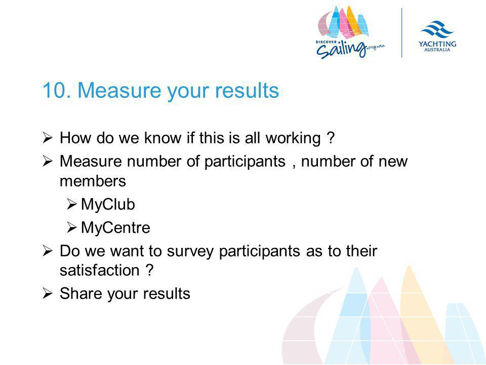 10. Measure your results  How do we know if this is all working .