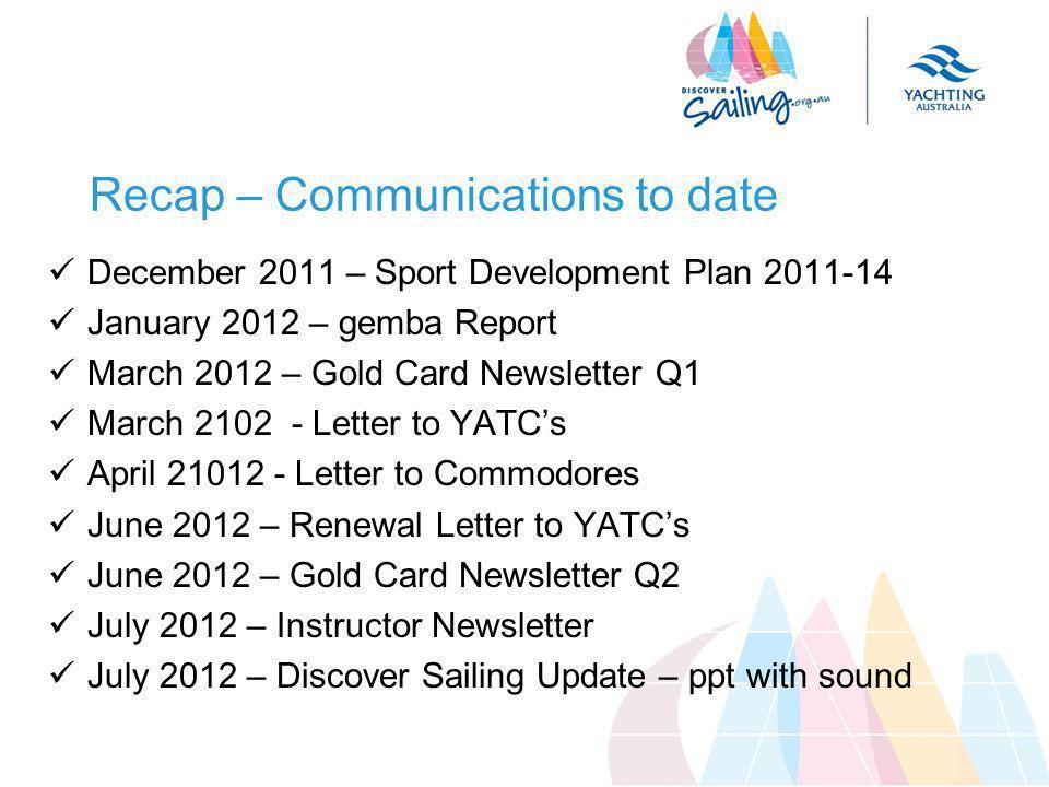 Recap – Communications to date December 2011 – Sport Development Plan 2011-14 January 2012 – gemba Report March 2012 – Gold Card Newsletter Q1 March 2