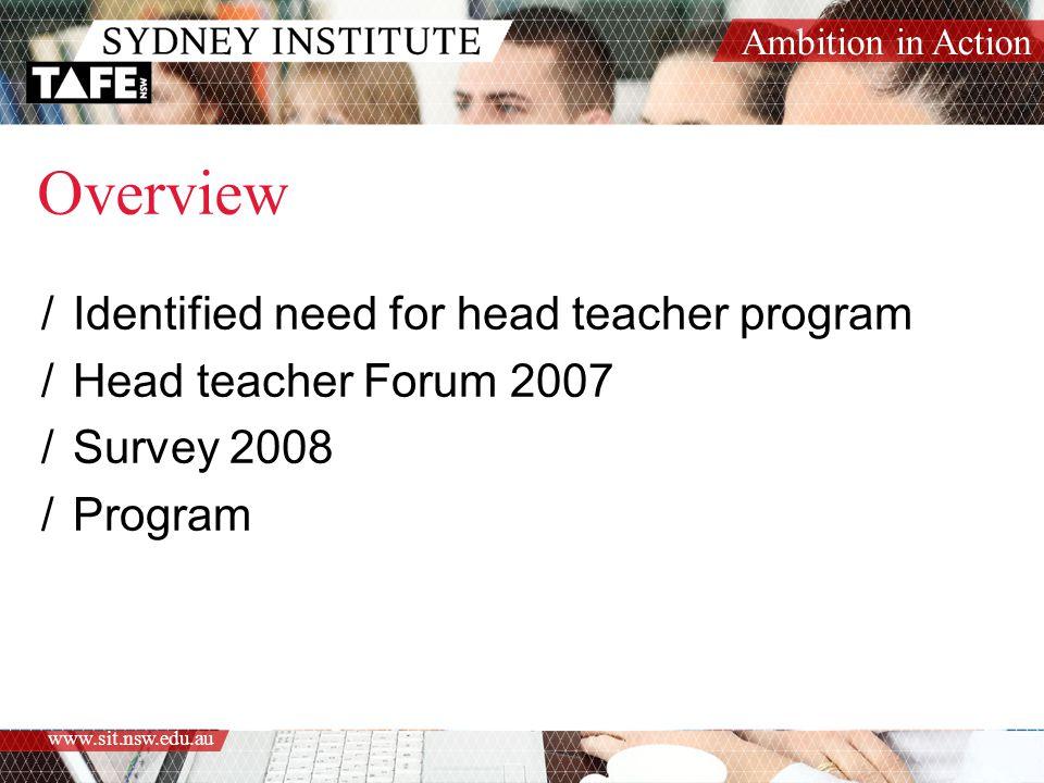 Ambition in Action www.sit.nsw.edu.au Overview /Identified need for head teacher program /Head teacher Forum 2007 /Survey 2008 /Program