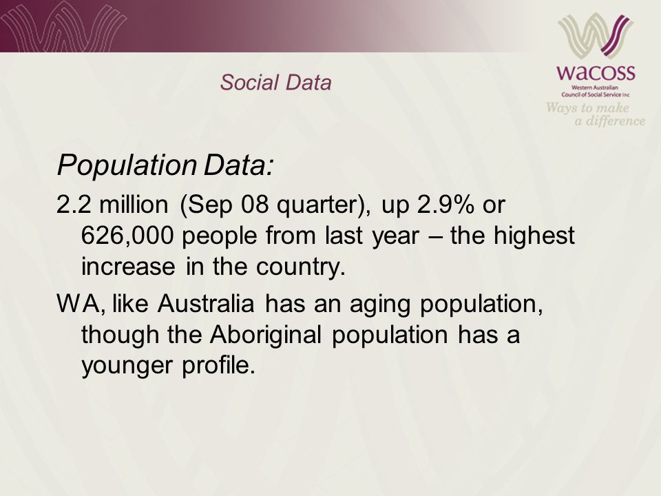 Social Data Population Data: 2.2 million (Sep 08 quarter), up 2.9% or 626,000 people from last year – the highest increase in the country.