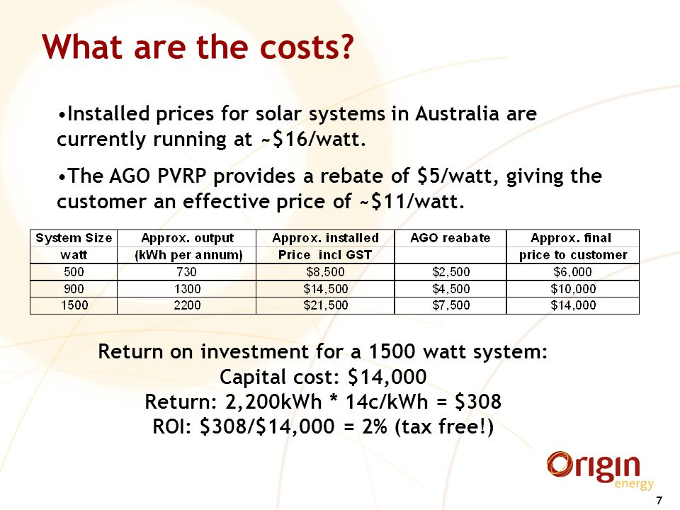 7 What are the costs? Return on investment for a 1500 watt system: Capital cost: $14,000 Return: 2,200kWh * 14c/kWh = $308 ROI: $308/$14,000 = 2% (tax