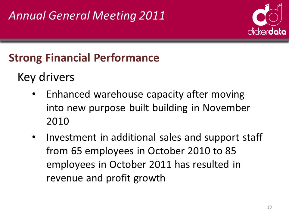 10 Annual General Meeting 2011 Strong Financial Performance Key drivers Enhanced warehouse capacity after moving into new purpose built building in November 2010 Investment in additional sales and support staff from 65 employees in October 2010 to 85 employees in October 2011 has resulted in revenue and profit growth
