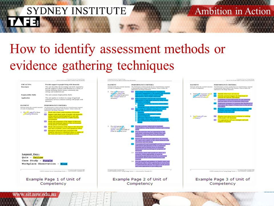 Ambition in Action www.sit.nsw.edu.au How to identify assessment methods or evidence gathering techniques