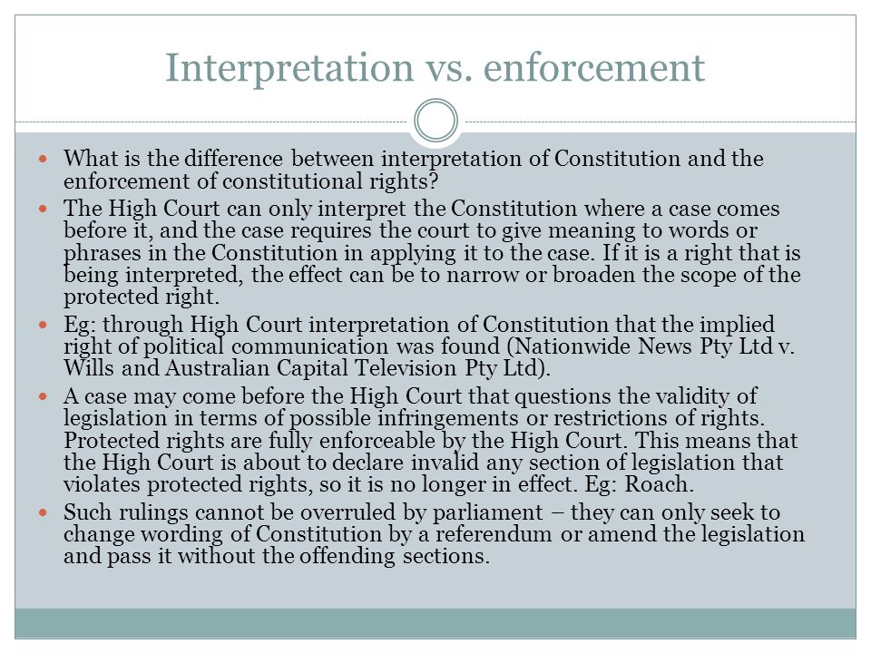 Interpretation vs.