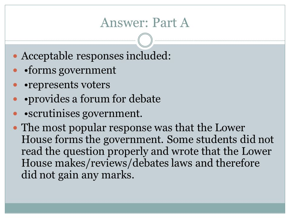 Answer: Part A Acceptable responses included: forms government represents voters provides a forum for debate scrutinises government. The most popular