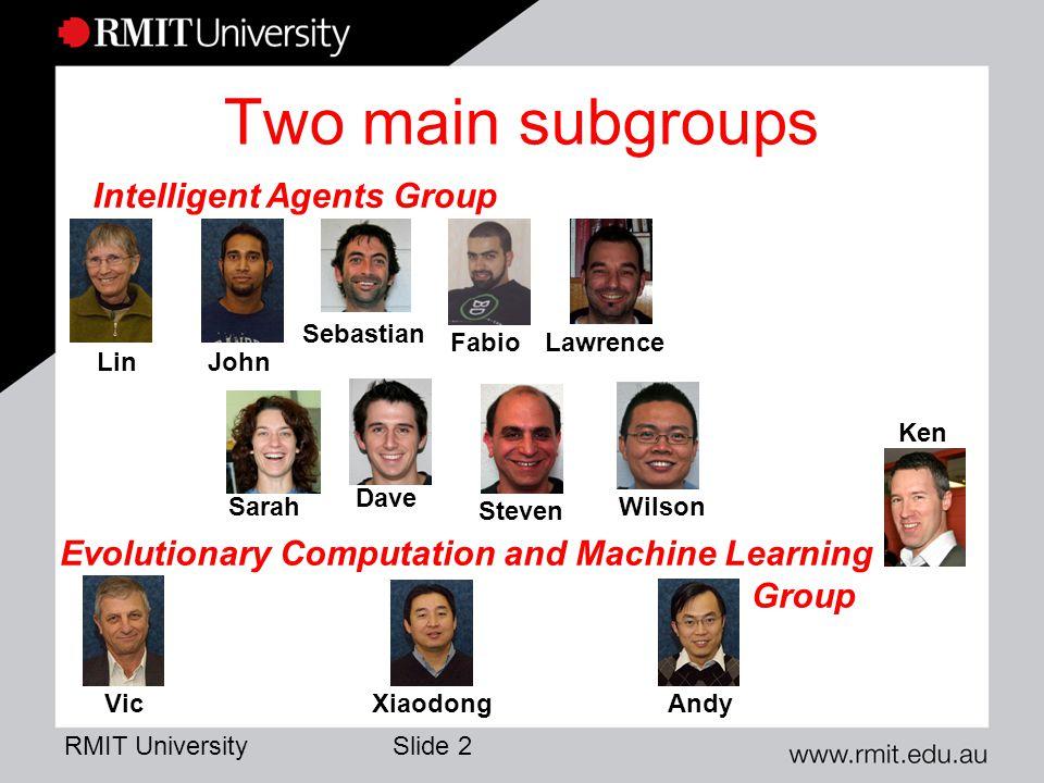 RMIT University Slide 3 Interest Areas (Agents) Lin Simulation Agent S.E.