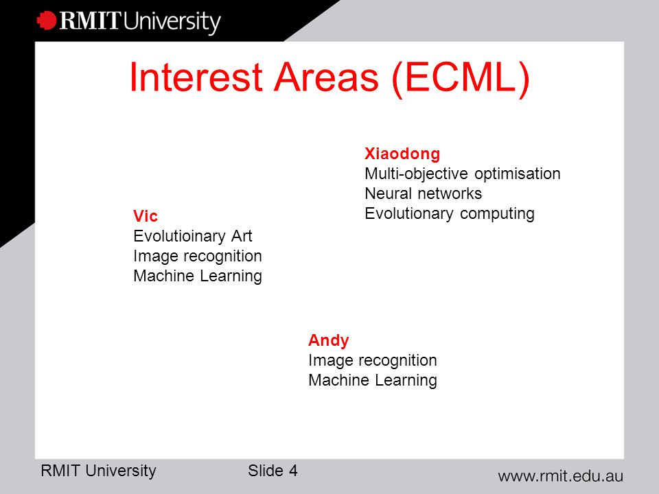 RMIT University Slide 5 Funded Projects Simulation framework for climate change adaptation: – Framework supporting modular components – Bushfire evacuation simulation – CBD retrofitting for climate change adaptation Cross disciplinary with social scientists Discovery project; NCCARF project (Lin, Sarah, Dave, Fabio) Indicators for planning and monitoring sustainability – Ontologies, indicator sets (James Thom, ISAR) – Agent based system support (Lin …) – Social science theory and practice (Global Cities Institute) Cross disciplinary, led by social scientist; Linkage project, multiple partners.