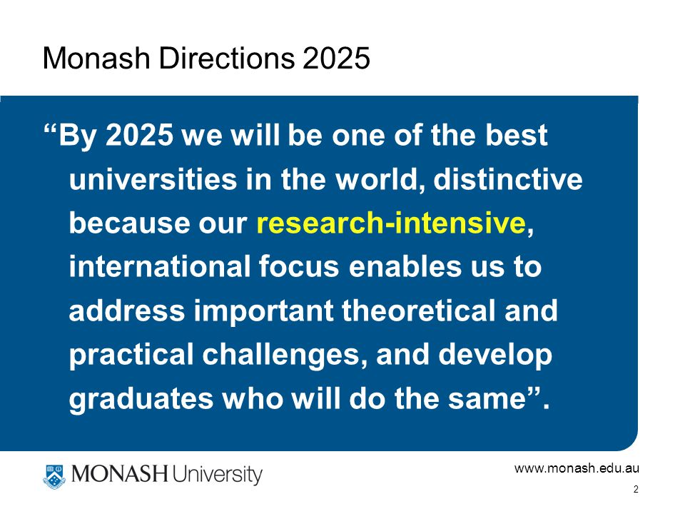 www.monash.edu.au 2 Monash Directions 2025 By 2025 we will be one of the best universities in the world, distinctive because our research-intensive, international focus enables us to address important theoretical and practical challenges, and develop graduates who will do the same .