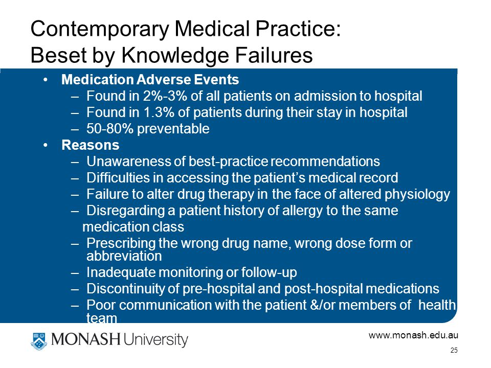 www.monash.edu.au 25 Contemporary Medical Practice: Beset by Knowledge Failures Medication Adverse Events –Found in 2%-3% of all patients on admission to hospital –Found in 1.3% of patients during their stay in hospital –50-80% preventable Reasons –Unawareness of best-practice recommendations –Difficulties in accessing the patient's medical record –Failure to alter drug therapy in the face of altered physiology –Disregarding a patient history of allergy to the same medication class –Prescribing the wrong drug name, wrong dose form or abbreviation –Inadequate monitoring or follow-up –Discontinuity of pre-hospital and post-hospital medications –Poor communication with the patient &/or members of health team