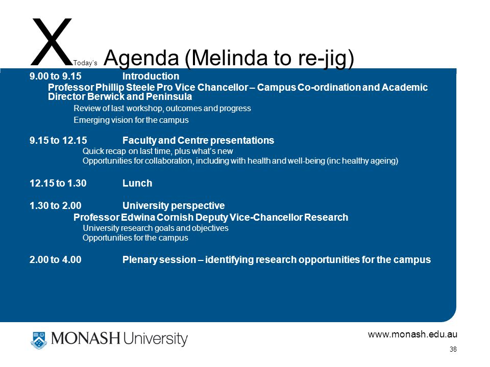 www.monash.edu.au 38 X Today's Agenda (Melinda to re-jig) 9.00 to 9.15Introduction Professor Phillip Steele Pro Vice Chancellor – Campus Co-ordination and Academic Director Berwick and Peninsula Review of last workshop, outcomes and progress Emerging vision for the campus 9.15 to 12.15Faculty and Centre presentations Quick recap on last time, plus what's new Opportunities for collaboration, including with health and well-being (inc healthy ageing) 12.15 to 1.30Lunch 1.30 to 2.00University perspective Professor Edwina Cornish Deputy Vice-Chancellor Research University research goals and objectives Opportunities for the campus 2.00 to 4.00Plenary session – identifying research opportunities for the campus