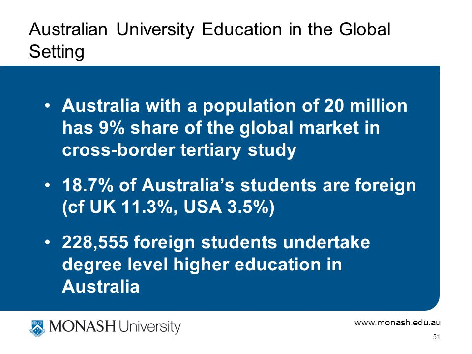 www.monash.edu.au 51 Australian University Education in the Global Setting Australia with a population of 20 million has 9% share of the global market in cross-border tertiary study 18.7% of Australia's students are foreign (cf UK 11.3%, USA 3.5%) 228,555 foreign students undertake degree level higher education in Australia