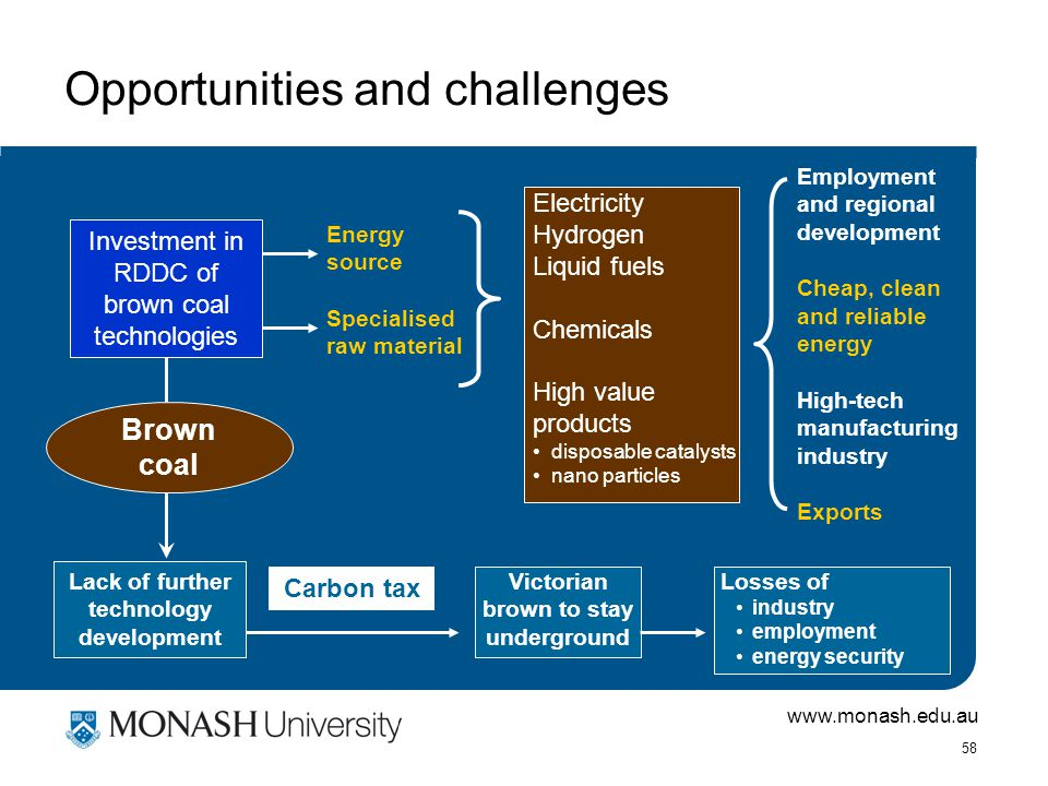 www.monash.edu.au 58 Opportunities and challenges Energy source Specialised raw material Electricity Hydrogen Liquid fuels Chemicals High value products disposable catalysts nano particles Employment and regional development Cheap, clean and reliable energy High-tech manufacturing industry Exports Carbon tax Victorian brown to stay underground Losses of industry employment energy security Investment in RDDC of brown coal technologies Brown coal Lack of further technology development