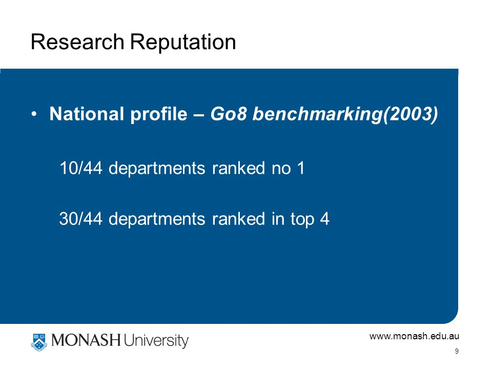 www.monash.edu.au 9 Research Reputation National profile – Go8 benchmarking(2003) 10/44 departments ranked no 1 30/44 departments ranked in top 4