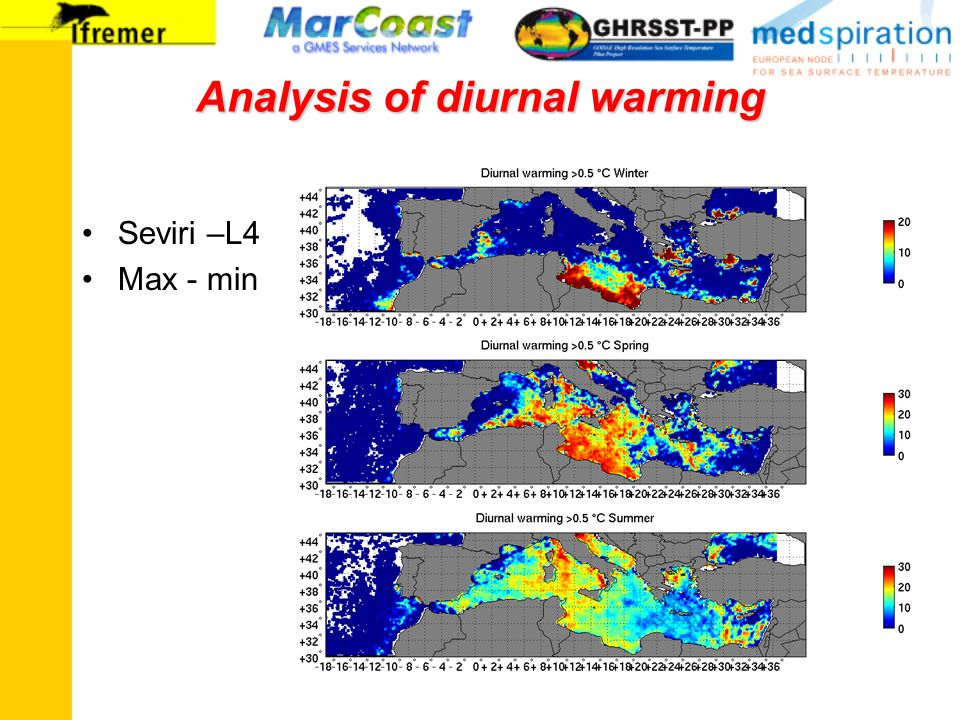 Analysis of diurnal warming Seviri –L4 Max - min