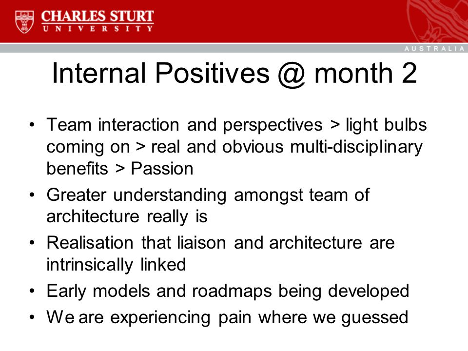 Internal Positives @ month 2 Team interaction and perspectives > light bulbs coming on > real and obvious multi-disciplinary benefits > Passion Greater understanding amongst team of architecture really is Realisation that liaison and architecture are intrinsically linked Early models and roadmaps being developed We are experiencing pain where we guessed