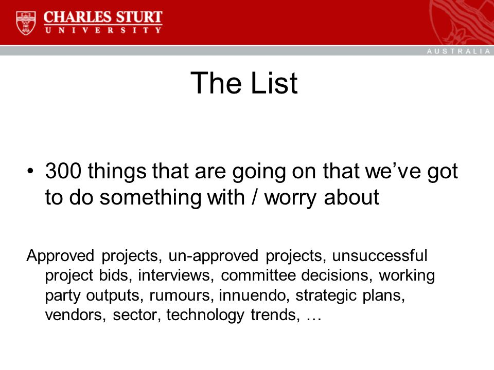 The List 300 things that are going on that we've got to do something with / worry about Approved projects, un-approved projects, unsuccessful project bids, interviews, committee decisions, working party outputs, rumours, innuendo, strategic plans, vendors, sector, technology trends, …