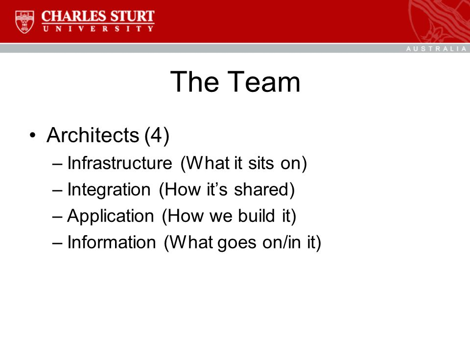 The Team Architects (4) –Infrastructure (What it sits on) –Integration (How it's shared) –Application (How we build it) –Information (What goes on/in it)