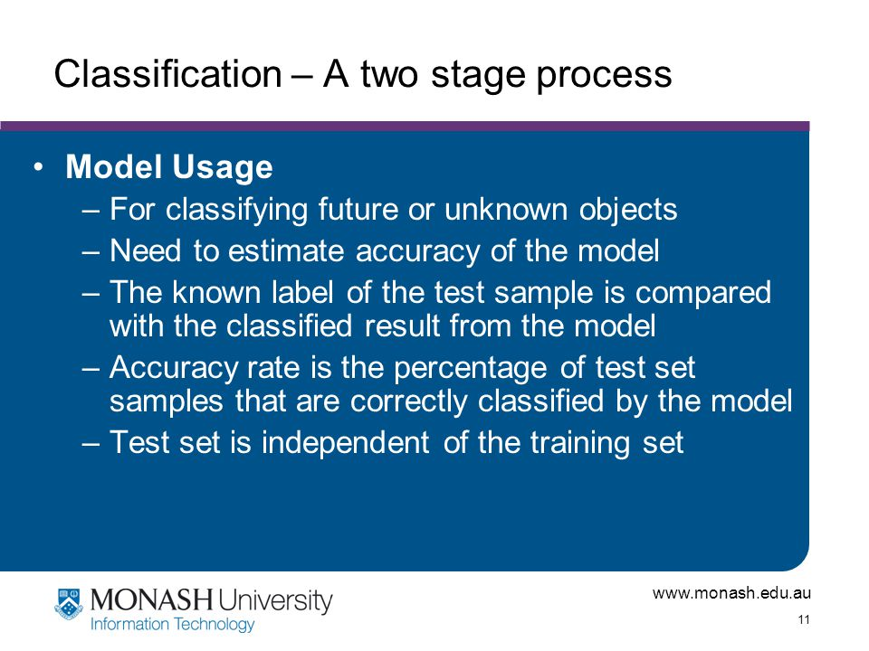 www.monash.edu.au 11 Classification – A two stage process Model Usage –For classifying future or unknown objects –Need to estimate accuracy of the mod