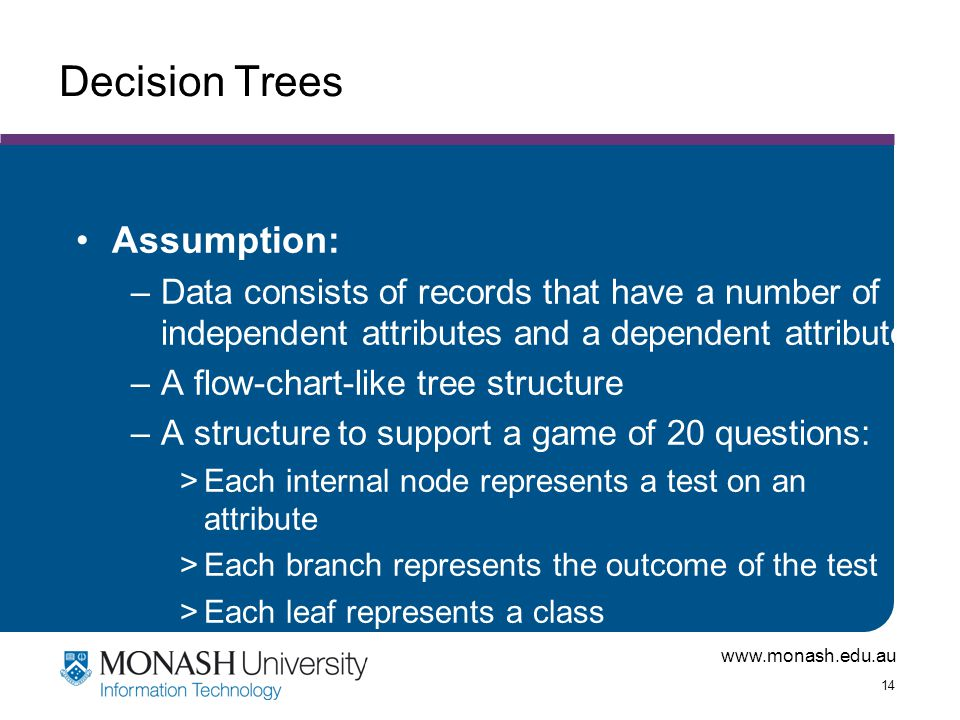www.monash.edu.au 14 Decision Trees Assumption: –Data consists of records that have a number of independent attributes and a dependent attribute –A fl