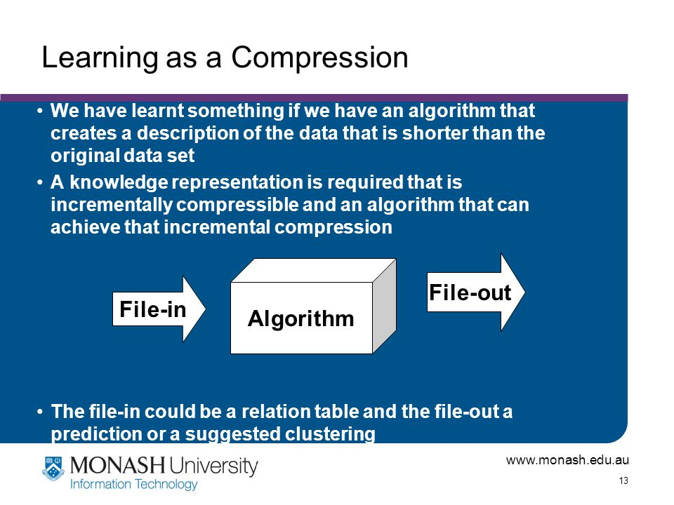 www.monash.edu.au 13 Learning as a Compression We have learnt something if we have an algorithm that creates a description of the data that is shorter