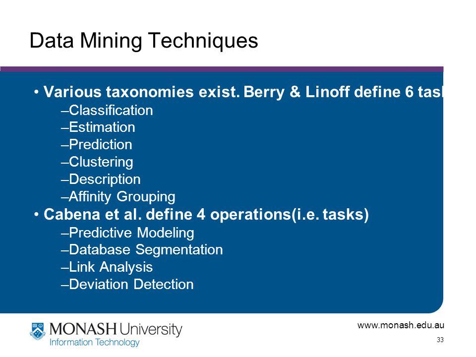 www.monash.edu.au 33 Data Mining Techniques Various taxonomies exist. Berry & Linoff define 6 tasks –Classification –Estimation –Prediction –Clusterin