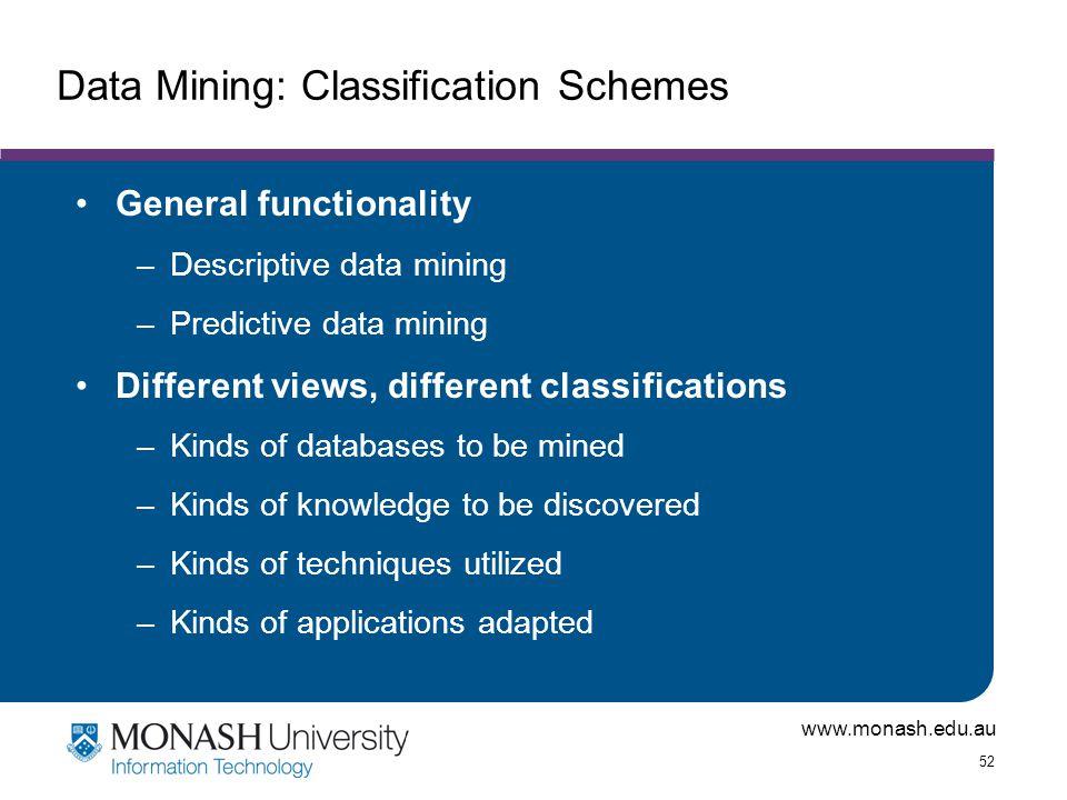 www.monash.edu.au 52 Data Mining: Classification Schemes General functionality –Descriptive data mining –Predictive data mining Different views, diffe