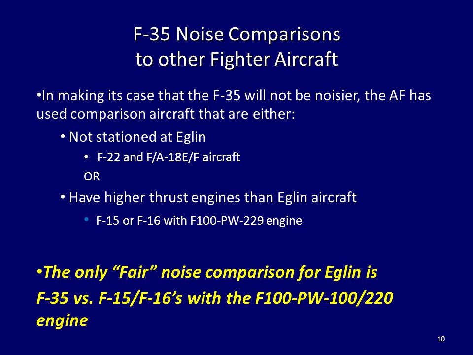 F-35 Noise Comparisons to other Fighter Aircraft In making its case that the F-35 will not be noisier, the AF has used comparison aircraft that are ei