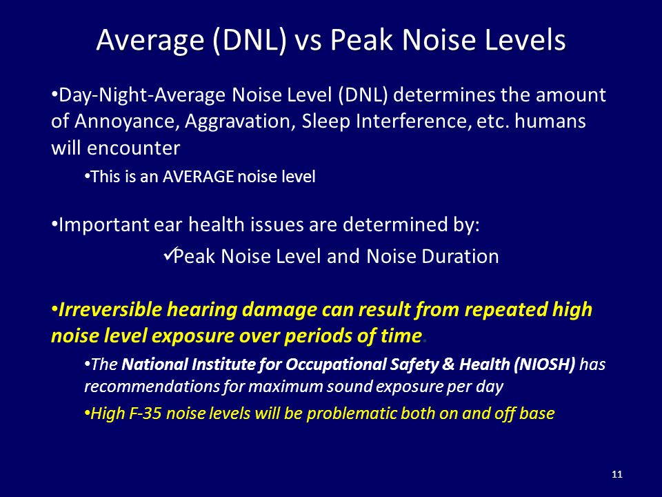 Average (DNL) vs Peak Noise Levels Day-Night-Average Noise Level (DNL) determines the amount of Annoyance, Aggravation, Sleep Interference, etc. human