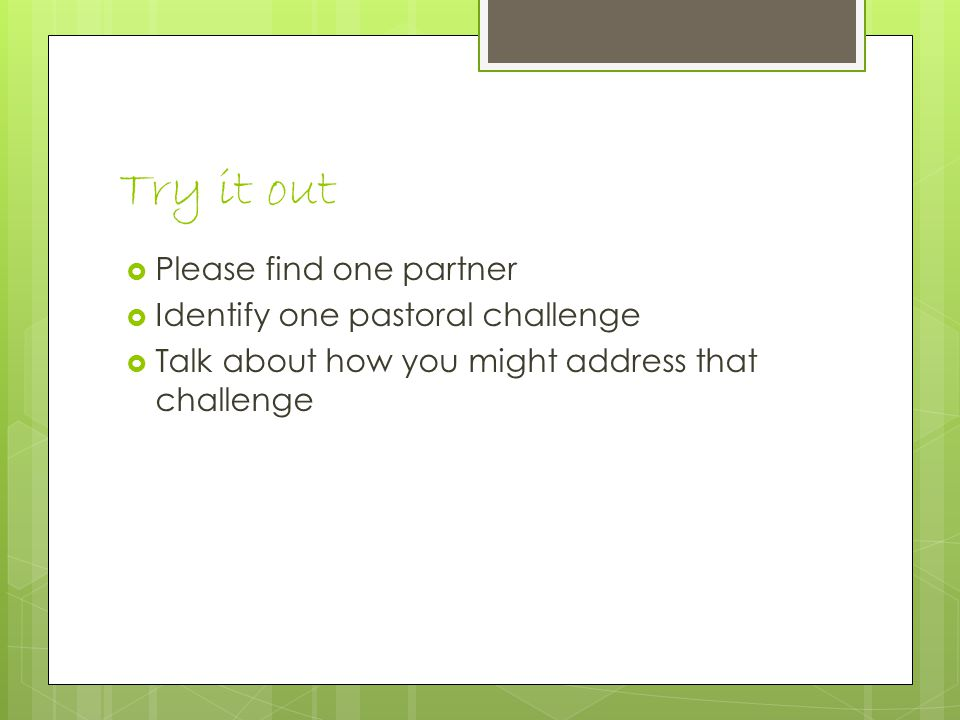 Try it out  Please find one partner  Identify one pastoral challenge  Talk about how you might address that challenge