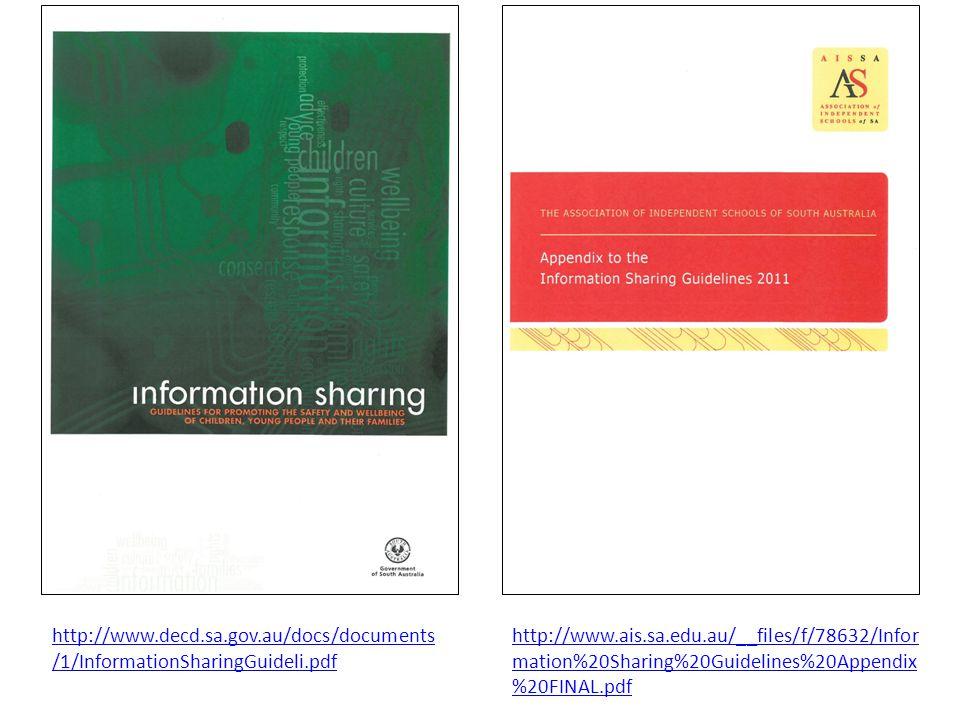 http://www.ais.sa.edu.au/__files/f/78632/Infor mation%20Sharing%20Guidelines%20Appendix %20FINAL.pdf http://www.decd.sa.gov.au/docs/documents /1/InformationSharingGuideli.pdf