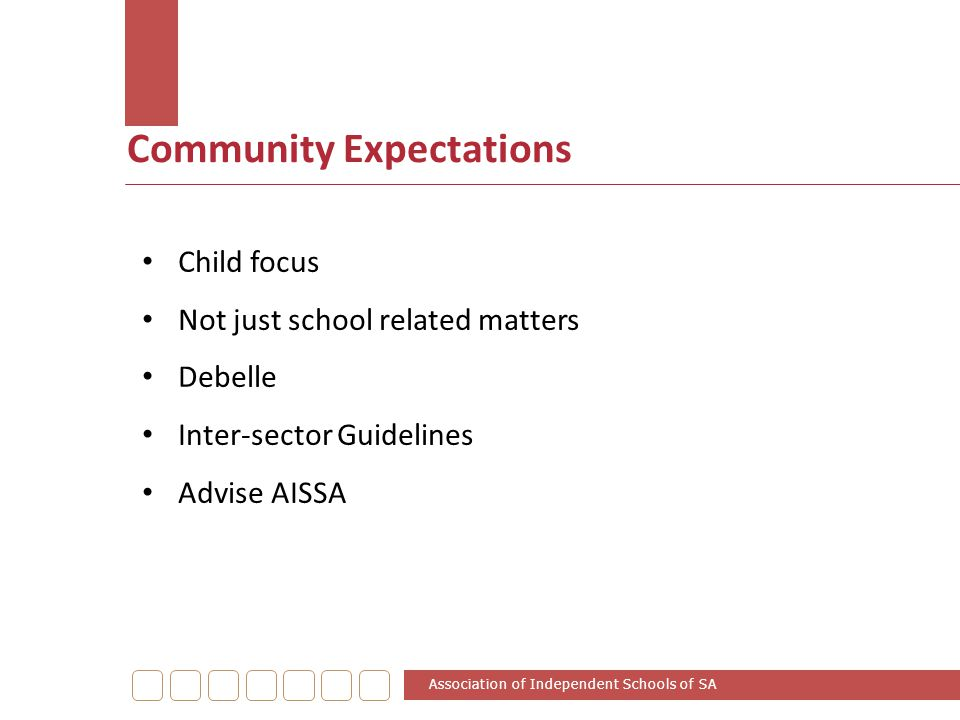 Community Expectations Association of Independent Schools of SA Child focus Not just school related matters Debelle Inter-sector Guidelines Advise AIS