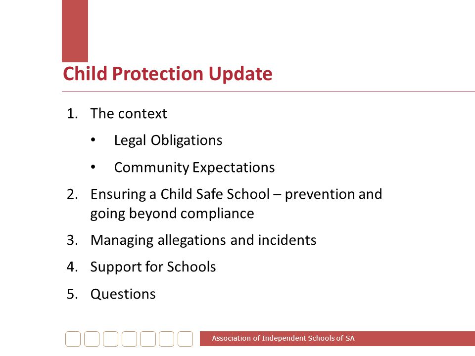 Child Protection Update 1.The context Legal Obligations Community Expectations 2.Ensuring a Child Safe School – prevention and going beyond compliance
