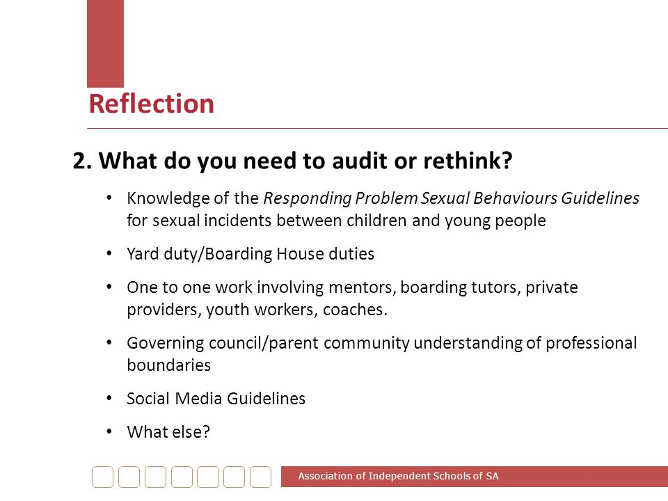 Reflection 2. What do you need to audit or rethink? Knowledge of the Responding Problem Sexual Behaviours Guidelines for sexual incidents between chil